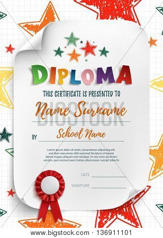 Diploma template for kids, certificate background with hand drawn stars for school, preschool or playschool. Vector illustration.