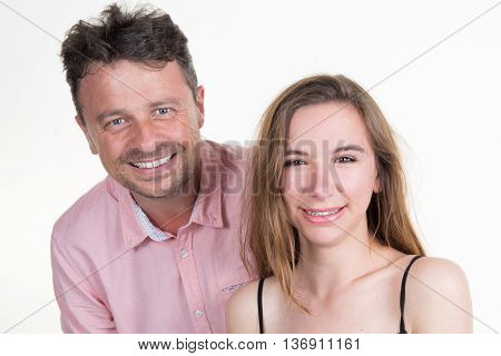 Cheerful Middle Aged Man With His Young Blond Wife