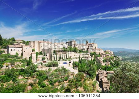 panoramic view of Gordes, famouse old town fortress of Provence, France