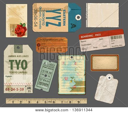 Ephemera - Set of vintage labels and paper scraps, including luggage tags, boarding pass and notepaper