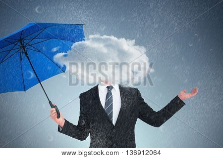 Happy businessman holding blue umbrella and looking up against purple vignette
