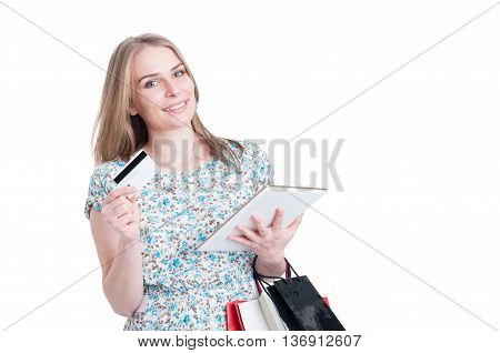 Portrait Of Woman With Tablet And Debit Card