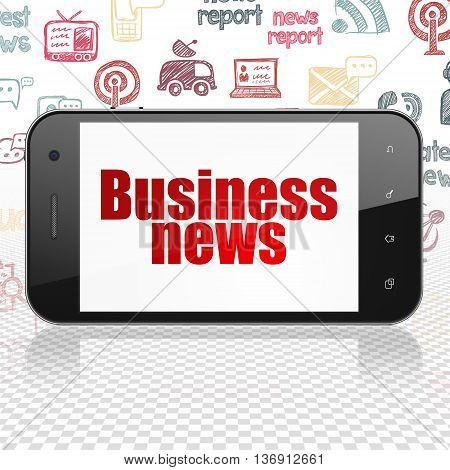 News concept: Smartphone with  red text Business News on display,  Hand Drawn News Icons background, 3D rendering