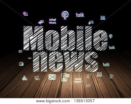 News concept: Glowing text Mobile News,  Hand Drawn News Icons in grunge dark room with Wooden Floor, black background