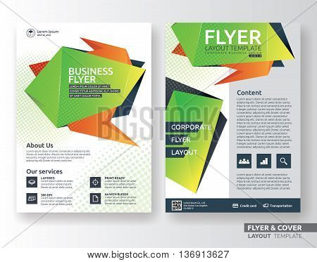 Multipurpose corporate business flyer layout design. Suitable for flyer brochure book cover and annual report. green and orange color in A4 size template background with bleeds. Vector illustration