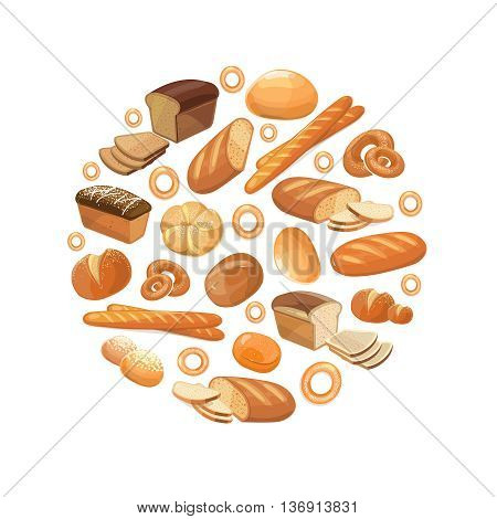 Food bread rye wheat whole grain bagel sliced french baguette croissant vector icons in circle. Bakery products for breakfast, illustration of loaf and snack bakery