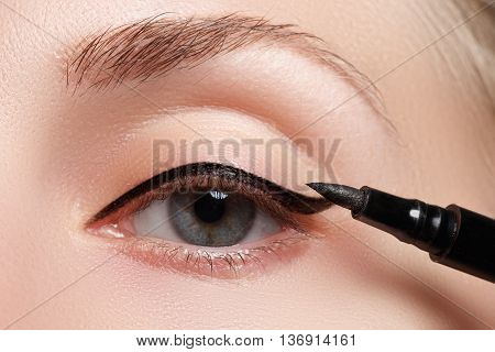 Beautiful Model Applying Eyeliner Close-up On Eye