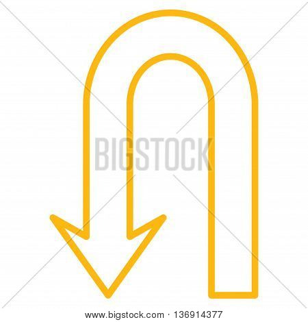 Return Arrow vector icon. Style is outline icon symbol, yellow color, white background.