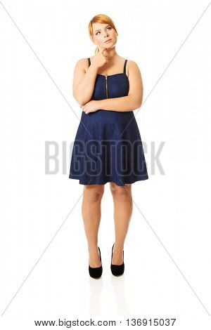 Thoughtful plus size woman