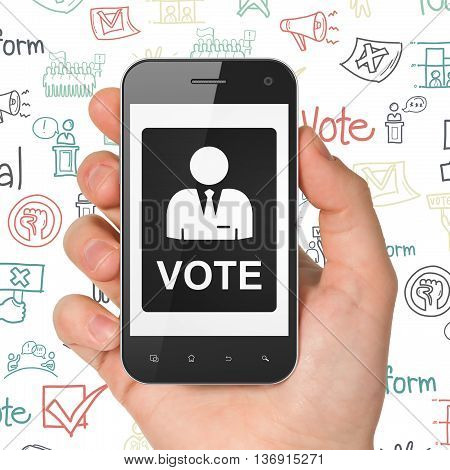Political concept: Hand Holding Smartphone with  black Ballot icon on display,  Hand Drawn Politics Icons background, 3D rendering
