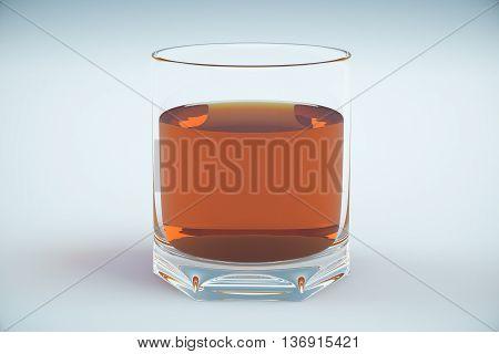 Full cognac glass on light background. 3D Rendering