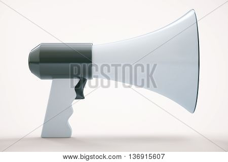 Megaphone on white background. 3D Rendering. Close up.