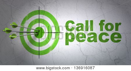 Success politics concept: arrows hitting the center of target, Green Call For Peace on wall background, 3D rendering