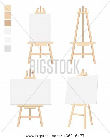 Easel flat icon design vector illustration Blank Canvas on Painting chalk folding Isolated on white. board diagram meeting