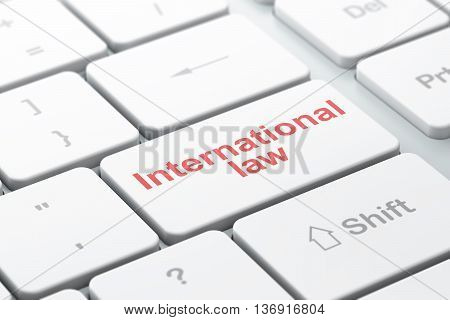 Political concept: computer keyboard with word International Law, selected focus on enter button background, 3D rendering
