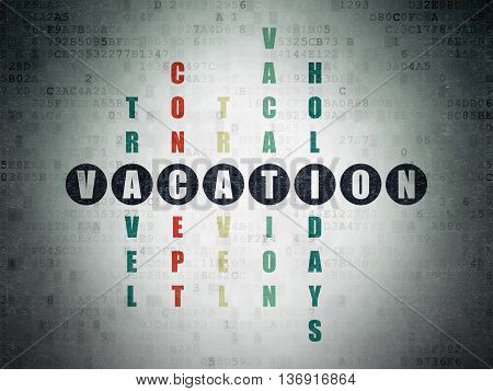 Holiday concept: Painted black word Vacation in solving Crossword Puzzle on Digital Data Paper background