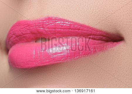 Perfect Smile. Beautiful Full Pink Lips. Pink Lipstick
