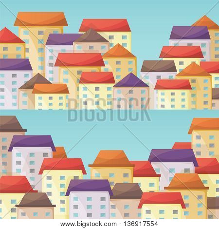 Cityscape Vector Horizontal Narrow Banners Set In Flat Style