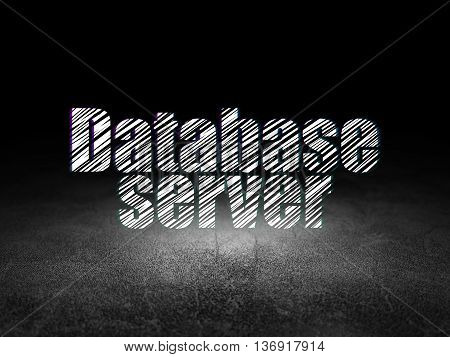 Database concept: Glowing text Database Server in grunge dark room with Dirty Floor, black background