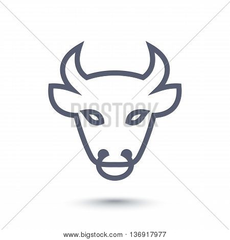 bull head icon ox head outline line pictogram isolated on white vector illustration