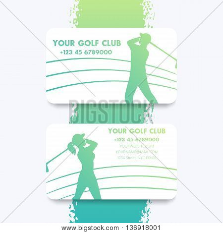 Business card design for golf club with golf players golfers vector illustration