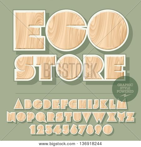Vector set of alphabet letters, numbers and punctuation symbols. Wooden emblem for ecology activity with text Eco store