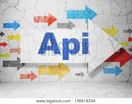 Database concept:  arrow with Api on grunge textured concrete wall background, 3D rendering