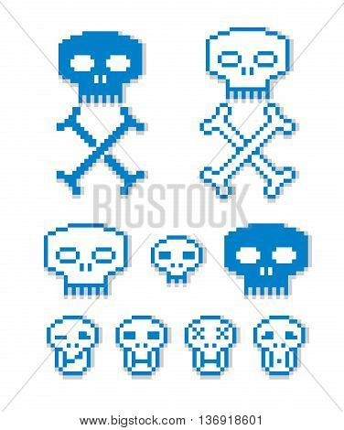 Vector pixel icons isolated collection of 8bit graphic elements. Simplistic digital signs human skulls with crossed bones.