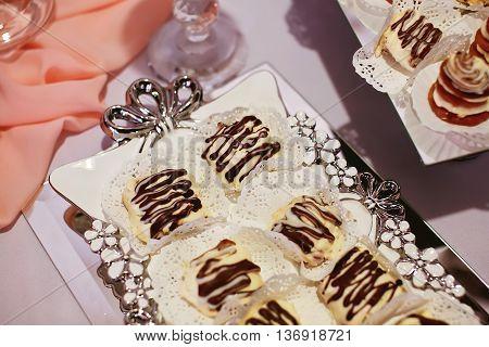 Dessert table close up. Candy bar .