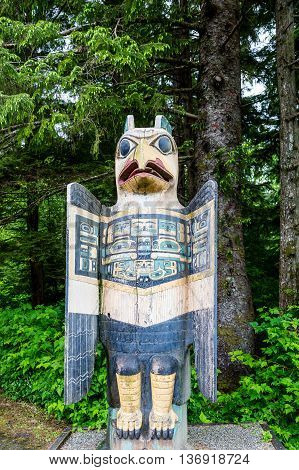 A Bird Totem in the forest of Alaska