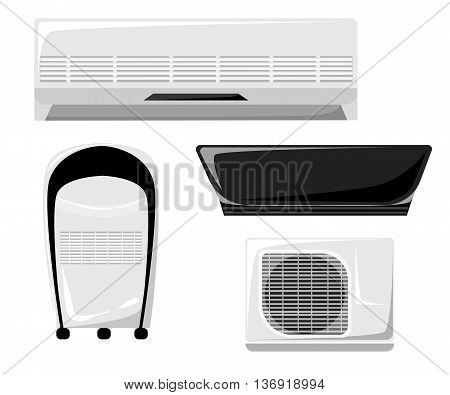 Air conditioner set with cooling and ventilation equipment isolate. Home climate