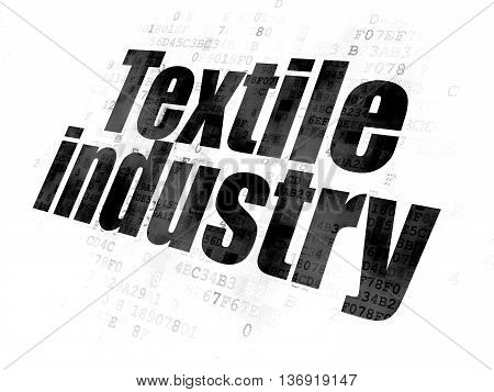 Industry concept: Pixelated black text Textile Industry on Digital background