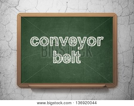 Industry concept: text Conveyor Belt on Green chalkboard on grunge wall background, 3D rendering