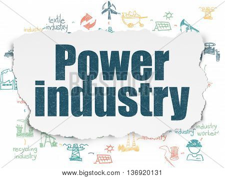 Industry concept: Painted blue text Power Industry on Torn Paper background with Scheme Of Hand Drawn Industry Icons
