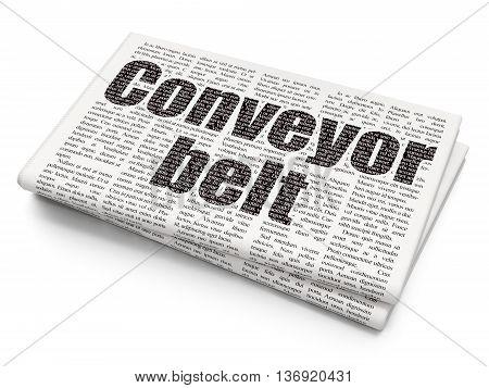 Manufacuring concept: Pixelated black text Conveyor Belt on Newspaper background, 3D rendering