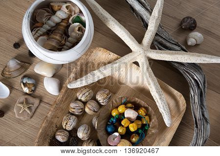 Composition of sea shells and stars reminiscent of the summer holidays.