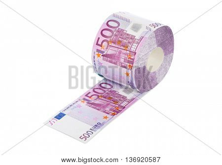 Roll of euro toilet paper isolated on white background