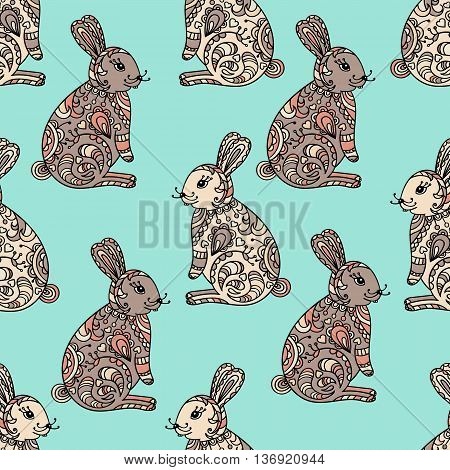 Zentangle stylized seamless pattern with hare - rabbit. Hand drawn colored illustration for T-shirt emblem, logo or tattoo with floral design elements. Tribal designed vector bunny.