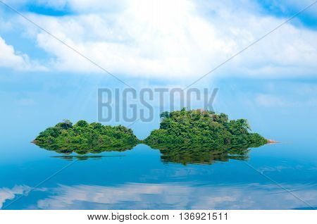 island and sea reflex Summer background. Thailand.