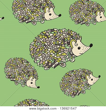 Hedgehog seamless pattern. Cute cartoon animal background in zentangle style. Child drawing style hedgehog illustration. Vector.