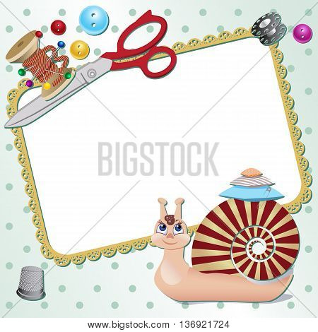 Frame with snail the seamstress with scissors a pillow a pin buttons threads. Vector illustration
