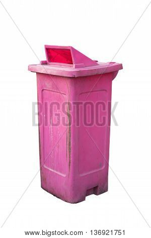 Pink wheelie bin for rubbish on white background