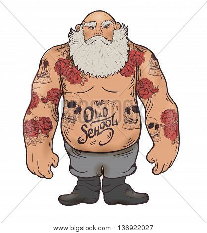 Masculine brutal man with a beard in tattoos