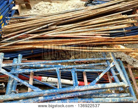 Lot of scaffold in the construction site