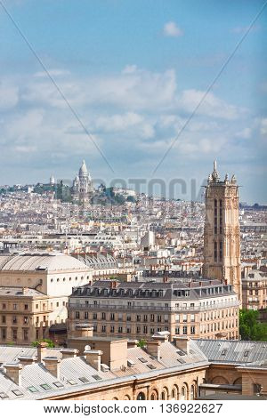 view of Paris above Mont Matre district, France