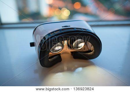 Virtual Reality headset light up at night