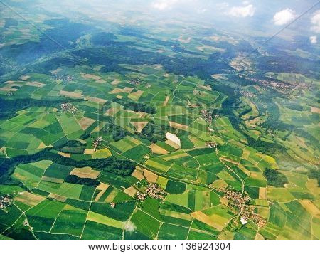aerial view - fields and farmland - cloudy