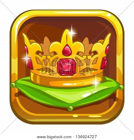 App store icon with golden crown on the green pillow, cartoon asset for game or web design, isolated on white