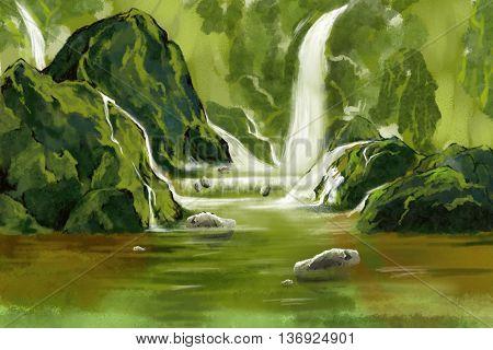 Green Waterfall Heaven. Watercolor Style Digital Artwork