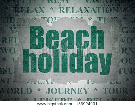 Travel concept: Painted green text Beach Holiday on Digital Data Paper background with   Tag Cloud